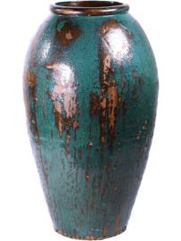 Keramiek plantenbak  'Oceano' mixed blauw geglazuurd D52xH105 cm