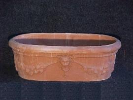 Handgemaakte Terracotta terrasbak `Cassetta Liscia` L85xH28xB53