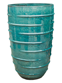 Keramiek plantenbak  'Bice' turquoise geglazuurd Ø57xH93 cm
