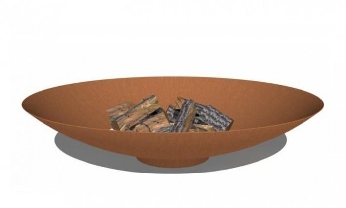 Cortenstaal vuurschaal 'Locarno', afmetingen D80 x H21 cm