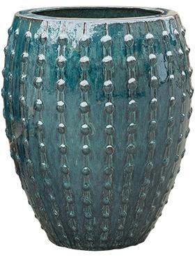 Keramiek plantenbak  'Lucia' glanzend petrolblauw D54 x H67 cm