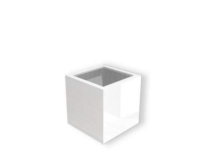Hoogglans polyester plantenbak `Cubo` 600x600x600mm