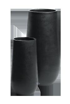 Ronde plantenbak `Idaho` (set, 2 stuks). Afmeting: Ø50 x H101 en Ø35 x H70 cm. Kleur: Stone Black