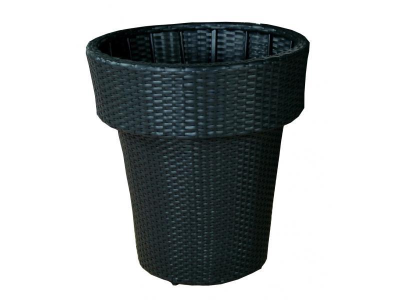 Wicker plantenbak 'Vasco'- kunststof vlechtwerk bloembak Zwart 62x70 cm