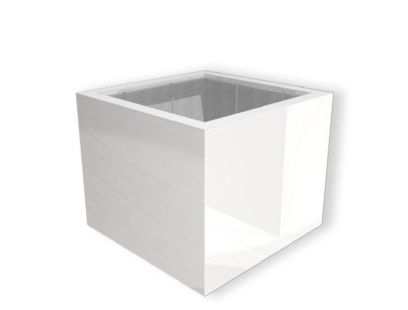 Hoogglans polyester plantenbak `Cubo` 800x800x600mm
