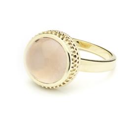 Ring geelgoud met rozenkwarts