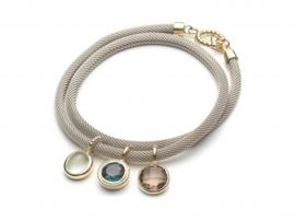 Armband met hangers blauw en bruin