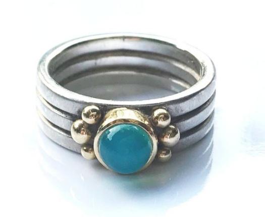 Ring zilver met goud en Andesopaal