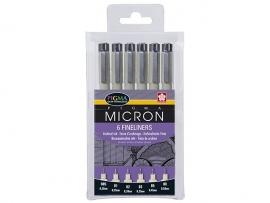 Pigma Micron fineliners zwart set 6 stuks