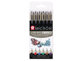 Pigma Mircon fineliner set met 6 kleuren