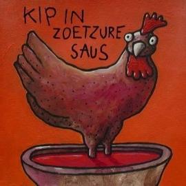 EDART  kip in zoetzure saus - wenskaart / ansichtkaart