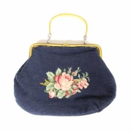 Vintage geborduurde handtas met bloemen