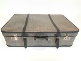 Vintage Koffer grijs met zwarte band