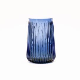 Blauwe Glazen Vaas - Ribbel