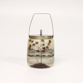 Gebrandschilderde glazen koektrommel met hengsel