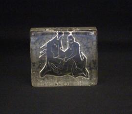Vintage glazen presse-papier - Rechthoekig met decor