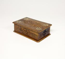 Houtsnijwerk houten ingelegde doos