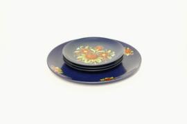 Gebakset - Cake Set - Blauw met Bloemen decor