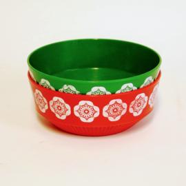 Rode en Groene kom - Schaal - Retro