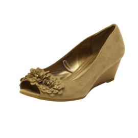 Graceland - Sandalen met Sleehak - Beige - Maat 38