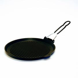 Grillpan met inklapbare greep - Ø 27 cm - Gietijzer - Zwart - Franse Keuken