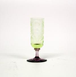 Vintage Uranium glaasje met paarse voet