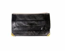 Vintage zwarte dames portemonnee met goud kleurige details