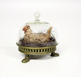 Decoratief tafereel - Broedende kip in geelkoperen basis met glazen stolp