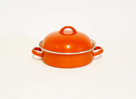 Oranje Emaille Dekselpan - Ø 24 cm x H 7 cm
