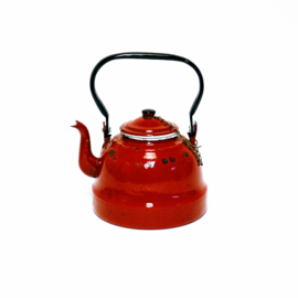 Rood Emaille Theepot - Vintage