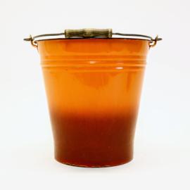 Oranje - Emaille Emmer  met Houten Handvat