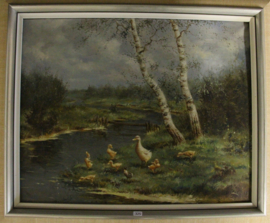 Hendrik Breedveld (1918-1999) - olieverf op doek - Eendenfamilie