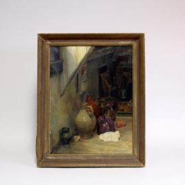 Gilles van Oosten (1916-2005) - Stilleven op een zolderkamer