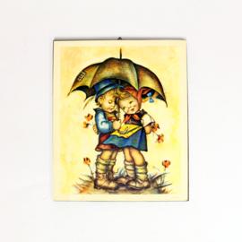 Retro prent kinderen onder een paraplu