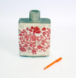 Brocante Vaas van aardewerk - Rood Bloemmotief