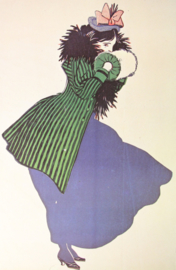 Affiche / poster vrouw met blauwe jurk - print