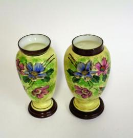 Opaline Vazen - Vaas - 2 stuks - Hand Beschilderd