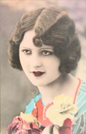 Vintage Franse RPPC getinte briefkaart / postcard / ansichtkaart, Ela 2911, Vrouw met bloemen, ca. 1910