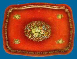 Vintage Dienblad - Rood gebloemd