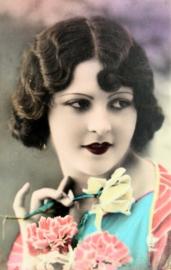 Vintage Franse RPPC getinte briefkaart / postcard / ansichtkaart, Portret Vrouw, ca. 1910