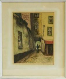 Hendrik de Laat - Louwse Poort Den Bosch - Ingekleurde Ets