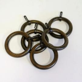 Houten (Gordijn) ringen per 6 stuks