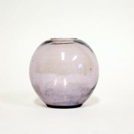 Rond glazen Bolvaasje paars