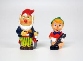 Vintage piepbeesten Pinokkio & kabouter