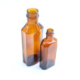 2 Bruine Apothekers flesjes - brocante