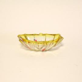 Vintage Italiaans Glas Schaal, Geel en Roze, Schaaltje, Center Piece, Italy
