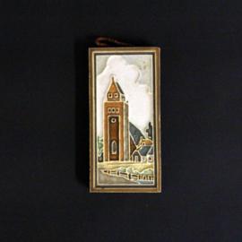 Cloisonné siertegel - Westraven - Huizen met bruggetje