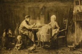 Jozef Israëls (1824-1911) - De Sobere Maaltijd - Prent