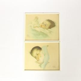 2 Vintage prenten in lijst van Bessie Peage Lutmann