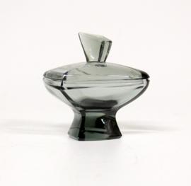 Klein Glazen Dekselpotje, zwart. Aparte Vorm
